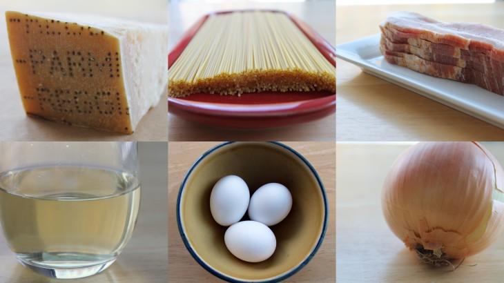 Carbonara ingredients