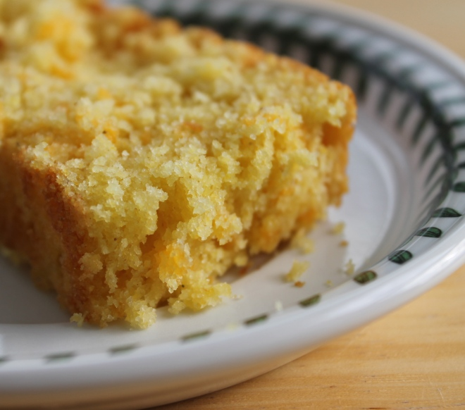slice of cheddar corn bread