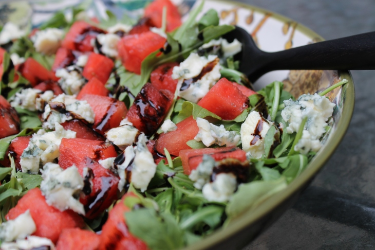 Watermelon and Arugula Salad close-up
